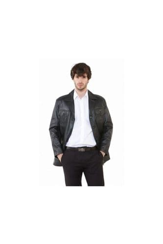 Men's Leather Safari Jackets in Black
